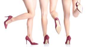 P?s f?meas ajustados em sapatas vermelhas do salto alto fotografia de stock