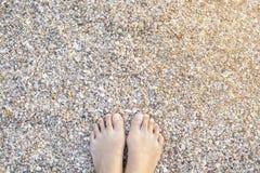 Pés fêmeas asiáticos na areia com escudos do mar, praia da praia de Krabi fotos de stock royalty free