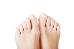 Pés fêmeas bonitos - próximos acima nos dedos do pé Imagem de Stock