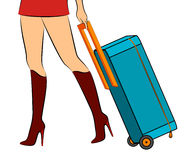 Pés fêmeas com mala de viagem Fotos de Stock Royalty Free