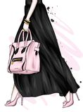 Pés fêmeas longos em uma saia bonita e em umas sapatas alto-colocadas saltos Saco à moda Forma e estilo, roupa e acessórios ilustração do vetor