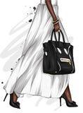 Pés fêmeas longos em uma saia bonita e em umas sapatas alto-colocadas saltos Saco à moda Forma e estilo, roupa e acessórios ilustração royalty free