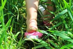 Pés na grama Foto de Stock