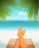 Pés na praia ilustração do vetor