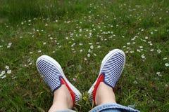 Pés nas sapatilhas na grama verde Imagem de Stock