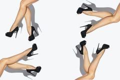Pés 'sexy' da mulher com as sapatas pretas no branco Imagem de Stock Royalty Free