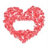 Pétala cor-de-rosa vermelha do vetor na forma do coração Foto de Stock