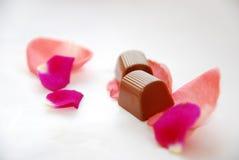 Pétala e chocolates de Rosa Imagem de Stock