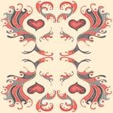 Pétala vermelha da cor do teste padrão do papel de parede Ilustração do Vetor