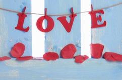 Pétalas cor-de-rosa do sabão e o amor da palavra Imagem de Stock Royalty Free
