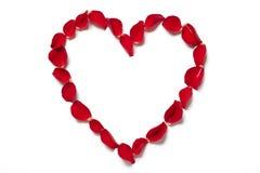 Pétalas cor-de-rosa vermelhas na forma do coração Imagem de Stock