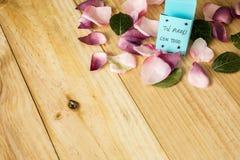 Pétalas da flor no fundo de madeira claro foto de stock