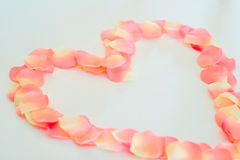 Pétalas de Rosa dadas forma coração Imagens de Stock