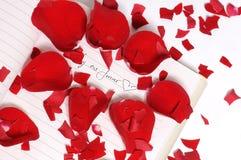 Pétalas de Rosa vermelhas nas partes Fotos de Stock