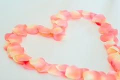 Pétales de Rose en forme de coeur Images stock