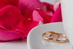 Pétales de rose et anneaux de mariage Photo stock