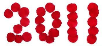 Pétales de Rose formant le numéro 2011 Images libres de droits