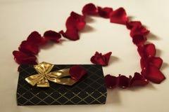Pétales de rose rouges coeur et cadeau photographie stock libre de droits