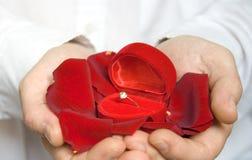 Pétales et bague de fiançailles/Valentine de Rose Photo stock