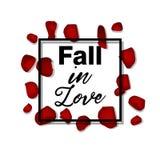 Pétales roses rouges chute de fond de carte de la valentine s dans l'amour typogrophy Images libres de droits