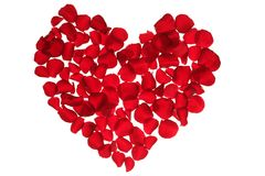 Pétales rouges coeur, métaphore de fleurs de valentines Image libre de droits