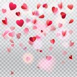 Pétalos color de rosa del confeti de los corazones que vuelan romance transparente ilustración del vector