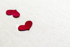 Pétalos color de rosa rojos en dimensión de una variable del corazón Fotos de archivo