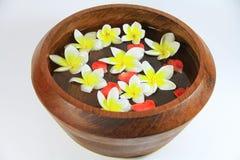 Pétalos de la flor en un cuenco del balneario Fotos de archivo libres de regalías