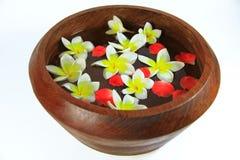 Pétalos de la flor en un cuenco del balneario Imagenes de archivo