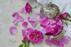 pétalos de la Té-rosa en cuenco de azúcar del metal: para el té, medicina alternativa, popurrí Copie el espacio para el texto Fotografía de archivo