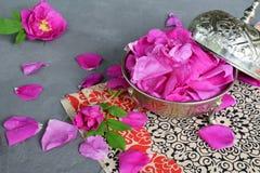 pétalos de la Té-rosa en cuenco de azúcar del metal: para el té, medicina alternativa, popurrí Copie el espacio para el texto Imagen de archivo libre de regalías