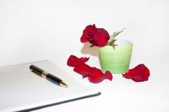 Pétalos de Rose y el lápiz Fotos de archivo