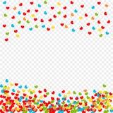 Pétalos multicolores de los corazones que caen aislados en el fondo transparente, modelo Día del ` s de la tarjeta del día de San libre illustration