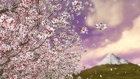 Pétalos que caen y Mt Fuji del árbol de la flor de cerezo ilustración del vector