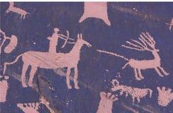 Pétroglyphe de chasseur photo libre de droits