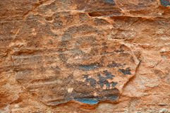 Pétroglyphe de Natif américain sur le mur de gorge Photographie stock libre de droits