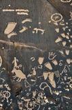 Pétroglyphe sur la roche Photographie stock