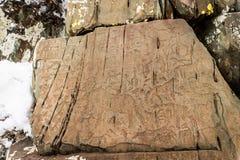 Pétroglyphes, altai, Kalbak-Tash Image stock