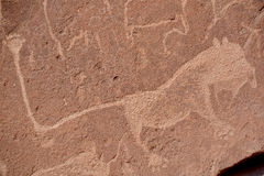 Pétroglyphes dans Twyfelfontein Images libres de droits