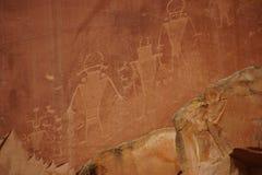 Pétroglyphes des personnes de Natif américain d'Anasazi Photos libres de droits