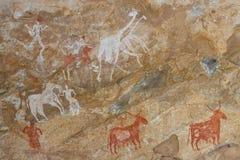Pétroglyphes - montagnes d'Akakus (Acacus), Libye Photos stock