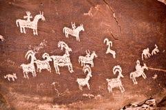 Pétroglyphes, voûtes parc national, Utah Photos libres de droits