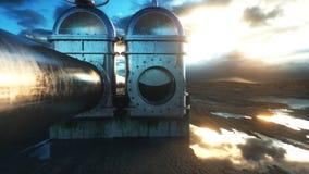 Pétrole, clapet à gaz Canalisation dans le désert Concept d'huile rendu 3d Images stock