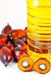 Pétrole d'oléine de paume avec des fruits de palmier à huile Photo libre de droits