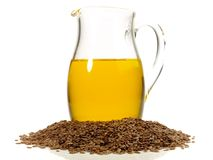 Pétrole d'Omega 3 et graines - nutrition saine photos stock