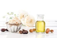 Pétrole et fruits d'argan avec du beurre de karité et des écrous Photographie stock libre de droits