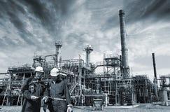 Pétrole, gaz, puissance et travailleurs Images libres de droits