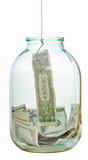 Pêchant enregistrer des dollars du pot en verre photos libres de droits