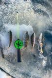 Pêche active de repos pour la perche en hiver de glace Image stock