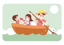 Pêche allée par famille pour des vacances Photos libres de droits